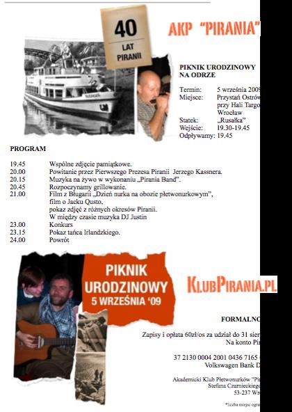 program- 40te urodziny Piranii